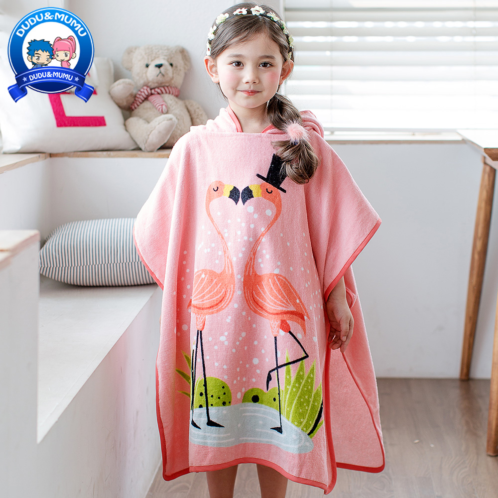 Kids Bath Towels Us 26 8 100 Cotton Towel Kids Girls Hood Swimming Beach Bath Towel Baby Lovely Cute Cartoon Flamingos Hat Bath Towel In Towels From Mother Kids
