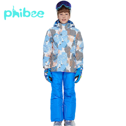 Phibee Ski Suit Baby Boy Clothes Warm Waterproof Windproof Snowboard Sets Winter Jacket Kids Clothes Children Clothing