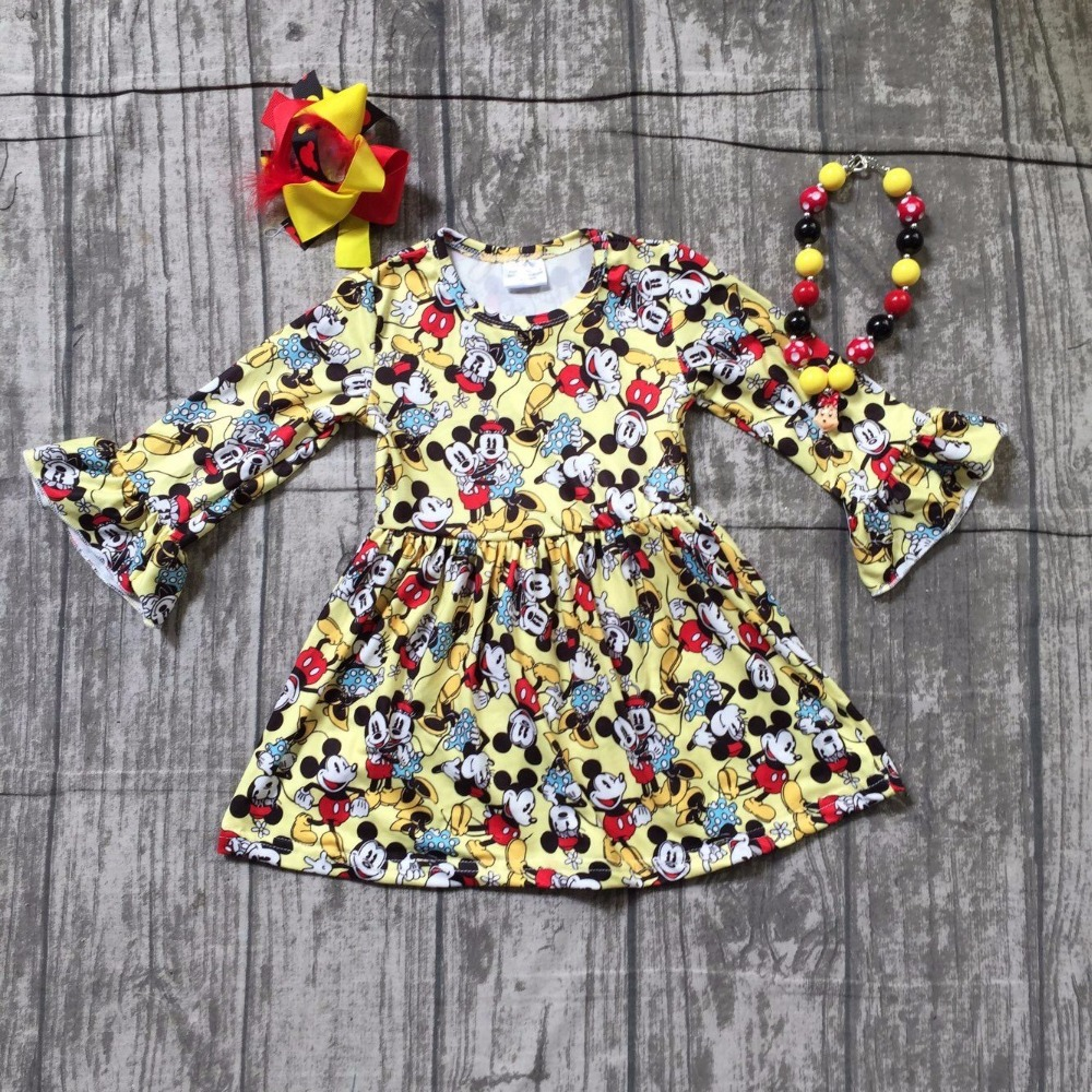 baby girls Fall/ Autumn dress girls minnie party dress children girls milk silk party dress long sleeve dress with accessories