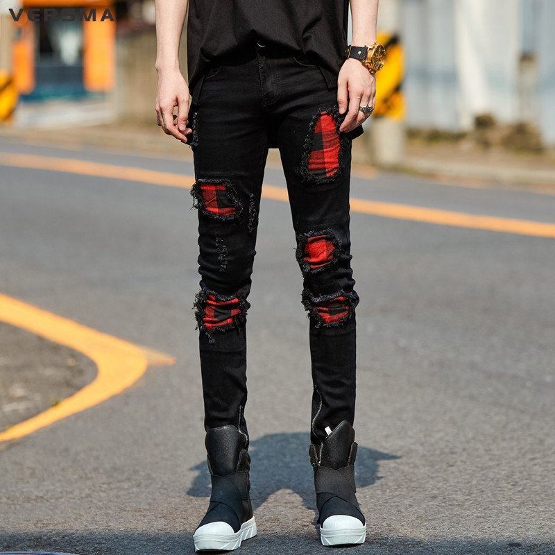 VERSMA High Street Ripped Plaid Patchwork Denim Jeans Pants Trousers Men Korean Slim Fit American Skinny Jean Men Denim Overalls