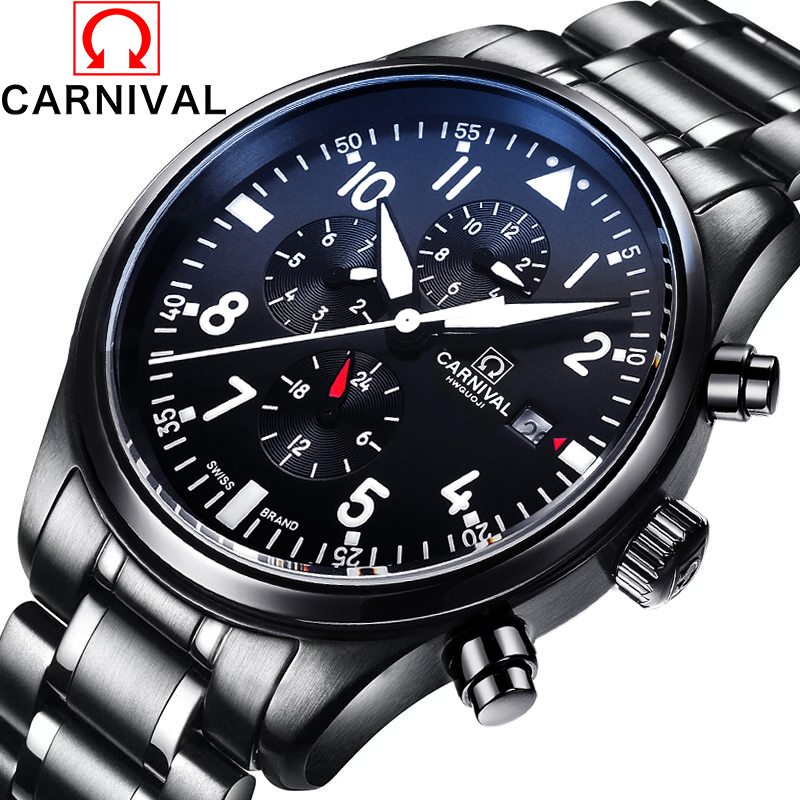 Luxury Brand Carnival pilot series Automatic mechanical watches Stainless Steel Men's Casual Watch military Waterproof Watches 2017 carnival luxury brand mechanical watch women leather bracelet waterproof sapphire mirror stainless steel automatic watches