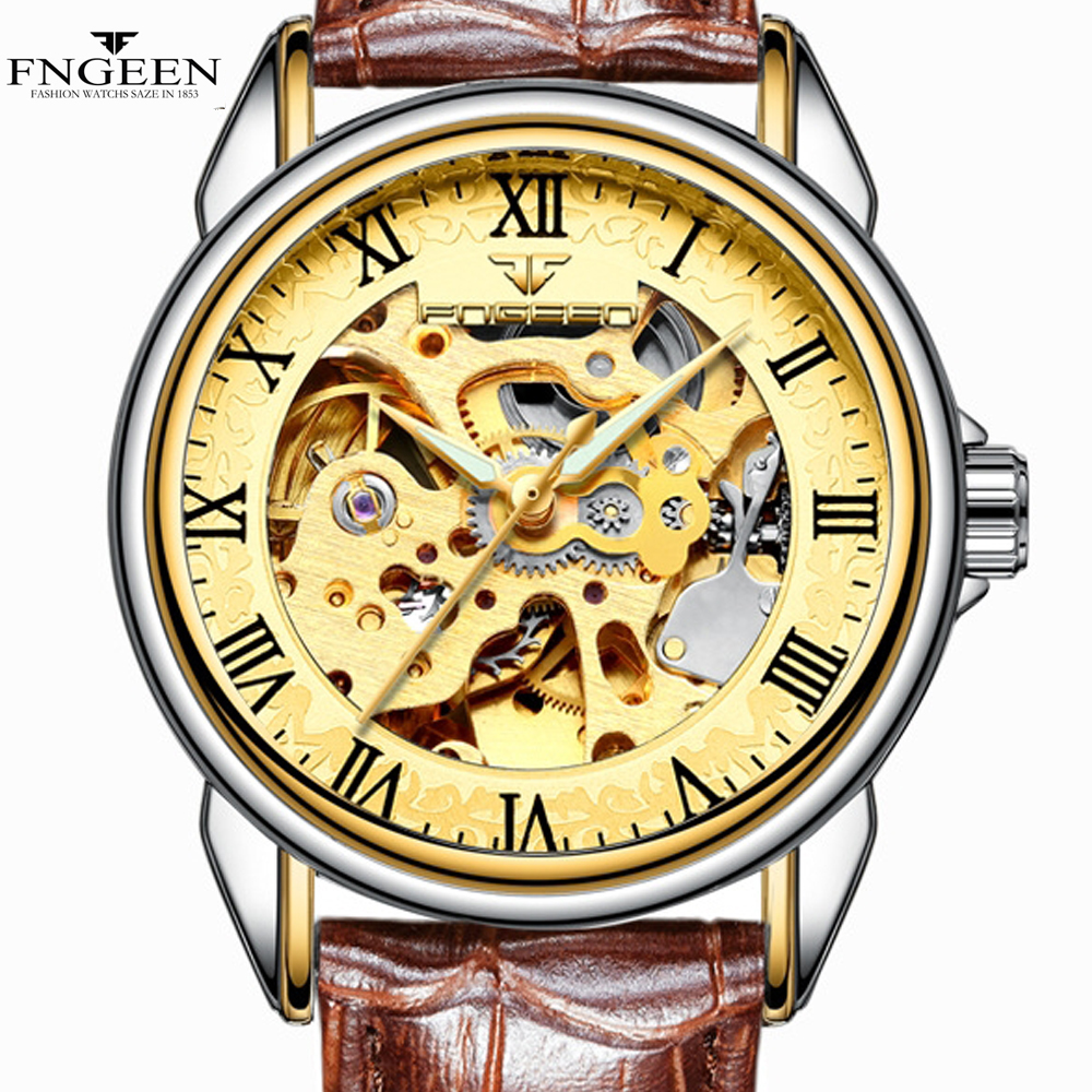 Golden Women Watches Men Watch FNGEEN Relogio Feminino Masculino Clock  Automatic Skeleton Mechanical Watch Automatico Hours