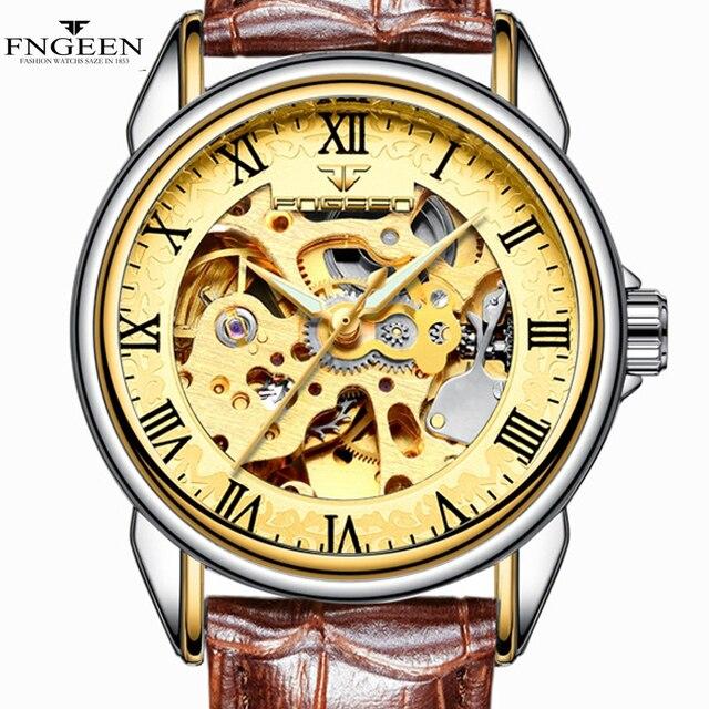 Golden Women Watches Men Watch FNGEEN Relogio Feminino masculino Clock Automatic