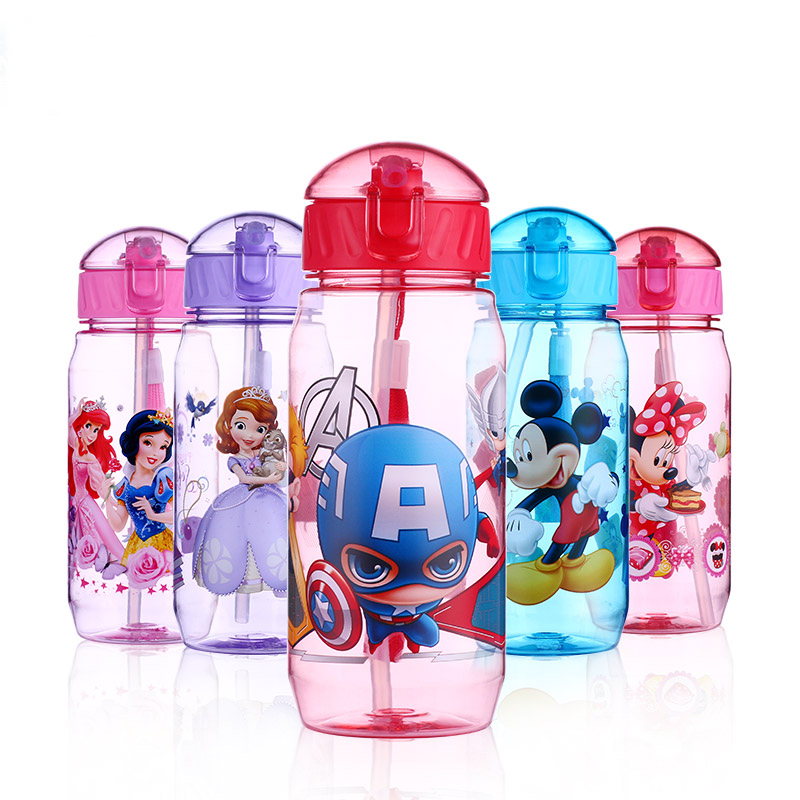 Disney 400ML Children's Plastic Feeding Cup Baby Portable Feeding Bottle with Straw Leak Proof Durable water Bottle