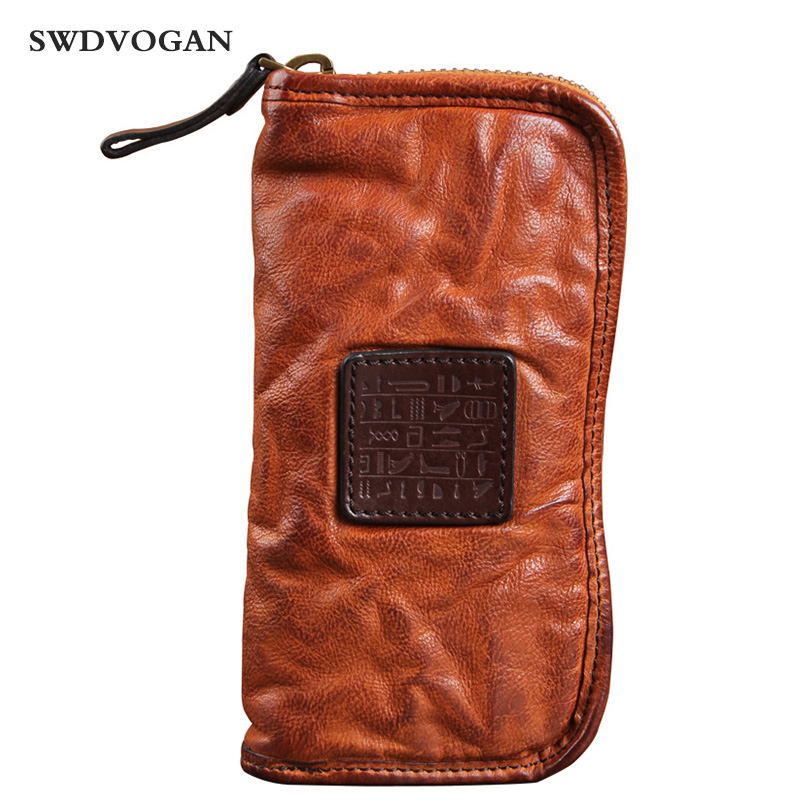 Luxury Genuine Leather Wallet Men Clutch Bag Vintage Cowhide Ruched Leather Men Purse Zipper Male Long Wallets Letter Carteira new oil wax leather men s wallet long retro business cowhide wallet zipper hand bag 2016 high quality purse clutch bag