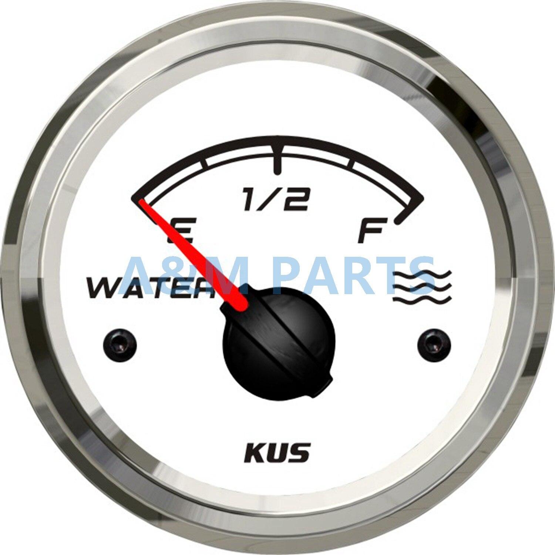 KUS Water Level Gauge Marine Boat Truck Water Tank Indicator White 52mm 0 190ohm