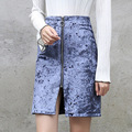 Yichaoyiliang Women's High Waist Velvet Skirt Front Slit Zipper Closure 2017 Spring Crushed Velour A-line Skirt One Step Skirt
