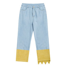 2018 Spring New Perppy Style Fashion Women Jeans Ankle-length Denim Pants Splicing Corduroy Playful(China)