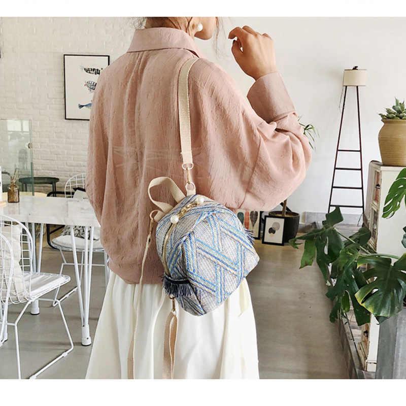 Модные летние соломенные женские пляжные сумки на шнурке дизайнерские свежие женские Цветочные вязаные рюкзаки для девочек сумка на плечо для путешествий ноутбук