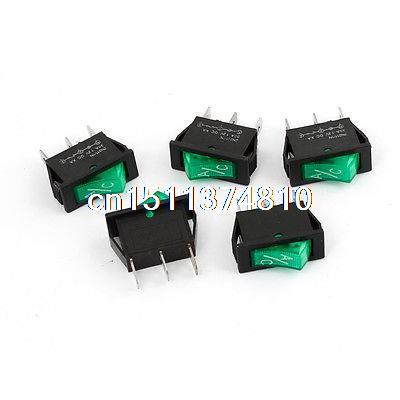 5Pcs Green Neon Light ON/OFF Snap in Rocker Switch 30A DC 12V for Car A/C 250vac 15a 125vac 20a 4 pin 2 position dpst on off snap in rocker switch kcd2 201n