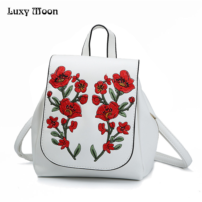 Luxy Moon Women Backpack Female Floral Embroidery White Backpacks PU Leather Bag For Adolescent School Bags Mochila Solid ZD677 luxy moon women pu leather backpack solid drawstring backpacks fashion black white bags for teenage girls school bag pink xa11h