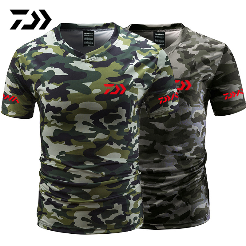 Daiwa Fishing Tshirt Summer Anti-sweat V Neck Camouflage Green Fishing T-shirt Sports Wear Breathable Quick Dry Fishing ClothingDaiwa Fishing Tshirt Summer Anti-sweat V Neck Camouflage Green Fishing T-shirt Sports Wear Breathable Quick Dry Fishing Clothing