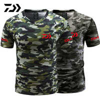 Daiwa Fishing Tshirt Summer Anti-sweat V Neck Camouflage Green Fishing T-shirt Sports Wear Breathable Quick Dry Fishing Clothing