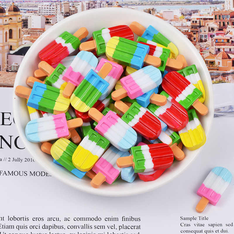 5PCS Resin Popsicle Ice Cream Polymer Slime Charm  Modeling Clay DIY Accessories Box Toy For Children Slime Supplies Filler