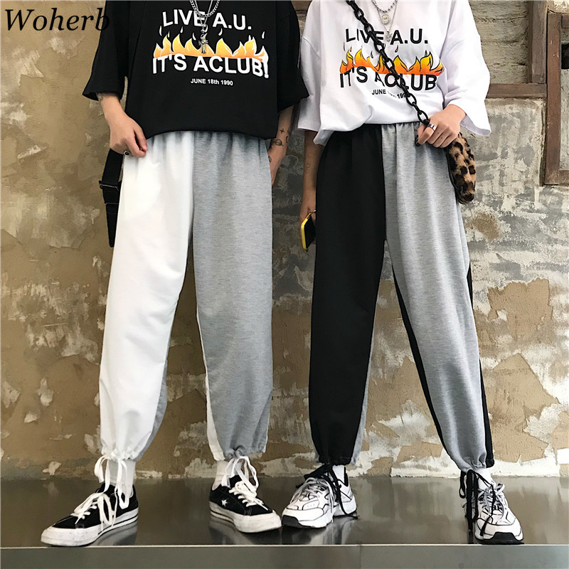 Woherb Contrast Patchwork   Wide     Leg     Pants   Women Joggers Korean Harajuku 2019 Summer Women and Man Unisex Loose Palazzo   Pants