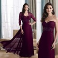 Honey Qiao Mother Of The Bride Dresses Elegant Purple Chiffon Sweetheart Sheath 2017 Evening Gowns With Jacket Lace Beaded