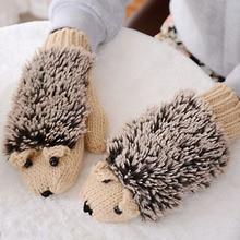 New 5 Colors Girls Novelty Cartoon Winter Gloves for Women Knit Warm Fitness Gloves Hedgehog Heated Villus Wrist Mittens