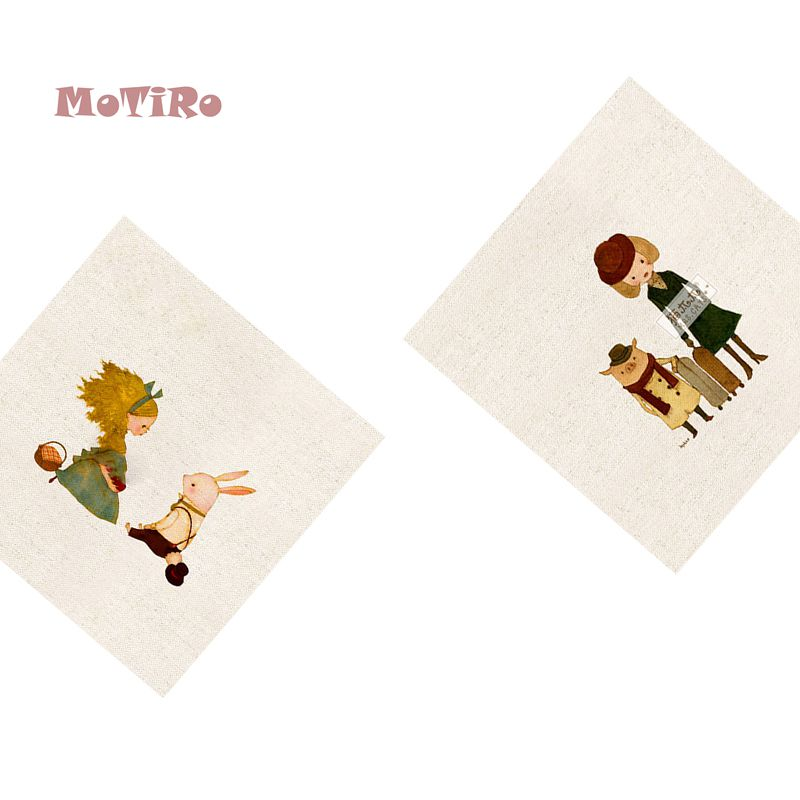 Humble Motiro,2pcs/lot,plain Hand Dyed Cloth,cartoon Pattern,cotton Linen Fabric Of Table Mat/mouse Pad/apron Pocket/pillow Decoration Extremely Efficient In Preserving Heat Apparel Sewing & Fabric