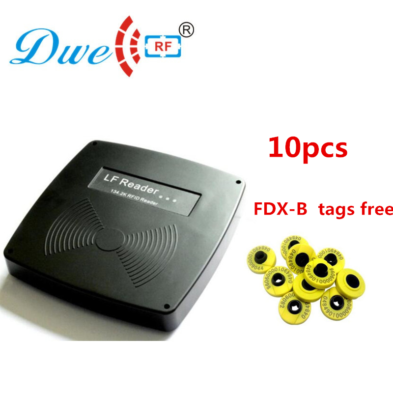 long distance rfid reader 134.2khz fdx-b rf scanner rs232 rs485 animal tag readers with 10 em4305 ear tags free