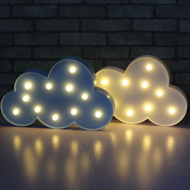 3D Marquee Cloud Night Lamp With 11LED Battery Operated Cloud Table Lamps  Or Kids Children Gift
