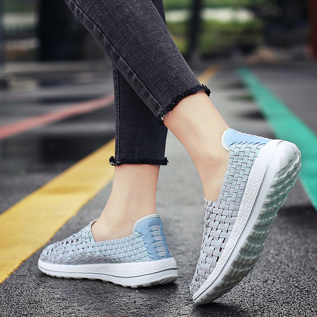 Big Size 44 Summer Handmade Woven Women Shoes Breathable Flats Shoes Sneakers Comfort Unisex Shoes Chaussure Femme 2019