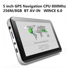 HOT 5 inch Car GPS Navigation Sat Nav CPU800M WINCE6.0+Bluetooth AV-IN+256M/8GB+FM Transmitter+Multi-languages+Free latest Maps