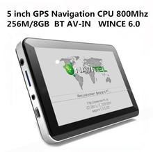 CALIENTE de 5 pulgadas de Coches de Navegación GPS Sat Nav CPU800M WINCE6.0 + Bluetooth AV-IN + 256 M/8 GB + Transmisor FM + Multi-languages + Libre Mapas más recientes