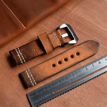 Thick Leather Watch Strap 20/22/24/mm Men's Antique Wrist Strap Band Replacement Watchband Frosted Stainless Steel Buckle KZV09 leather watchband strap 12 14 16 18 19 20 22 24 mm stainless steel buckle men women replace band watch accessories