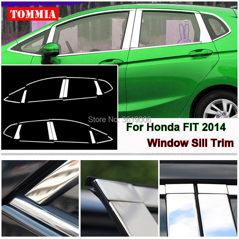 TOMMIA Full Window Middle Pillar Molding Sill Trim Chromium Styling Strips Stainless Steel For Honda Fit 2014