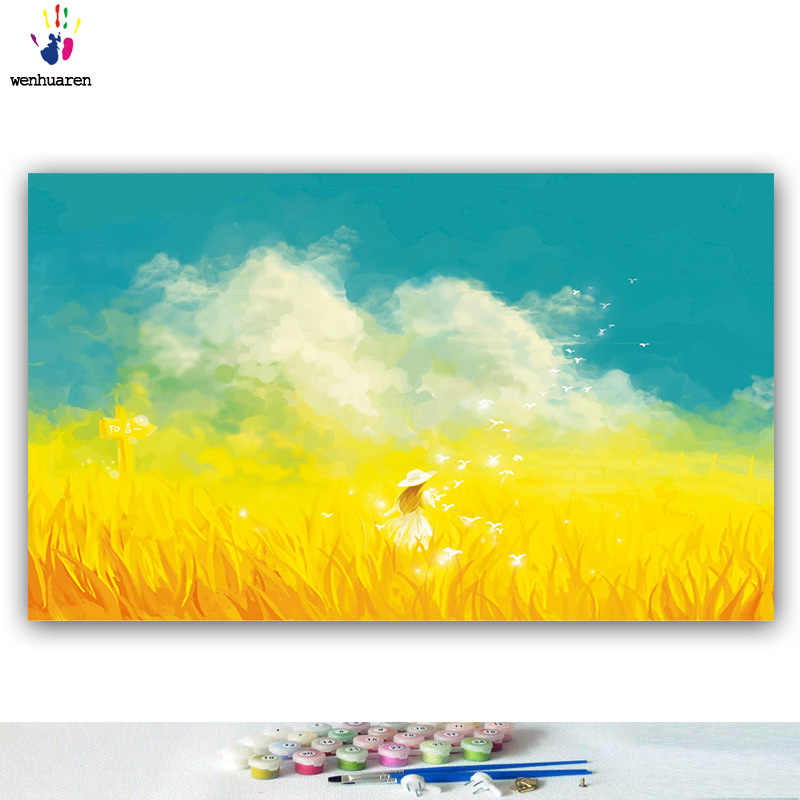 DIY colorings pictures by numbers with colors Wheat field girl autumn landscape picture drawing painting by numbers framed Home