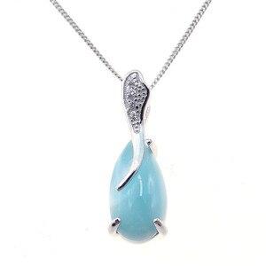 Image 4 - Larimar 100% en argent Sterling 925, pendentif en forme de goutte deau, pierre véritable pour femmes, cadeau, sans chaîne, pour femmes