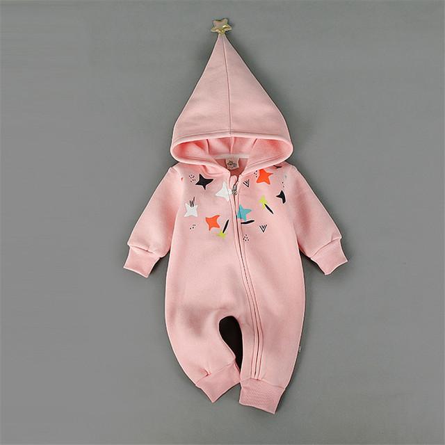 Romper do bebê Recém-nascido Do Bebê Menina Menino Roupas Com Chapéu Estrela Inverno de Espessura Não-invertido Veludo longo Rosa Roupas BlueZipper R-009