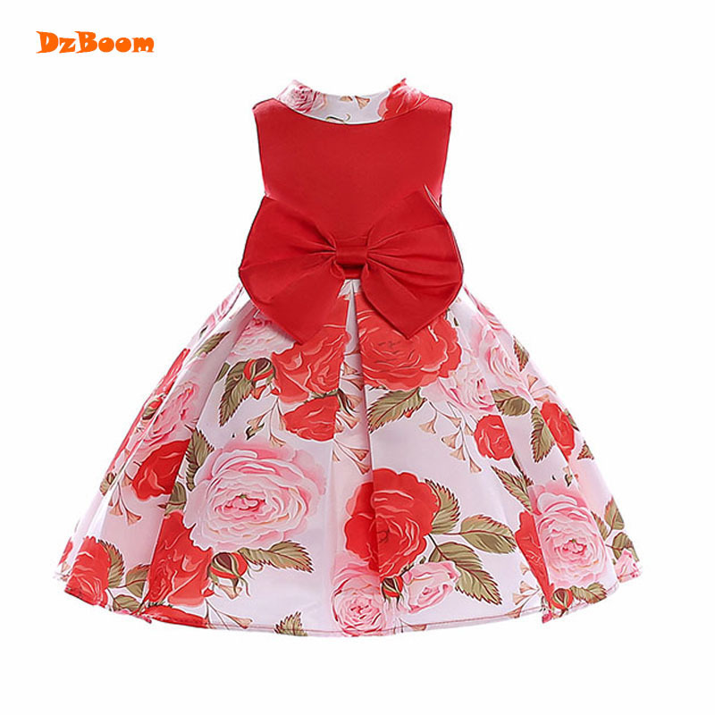 DzBoom Summer Bow Print Princess Dress Kids Clothes Cute Fashion Roes  Flower Girl Party Dresses 2018 2a7038dea9eb