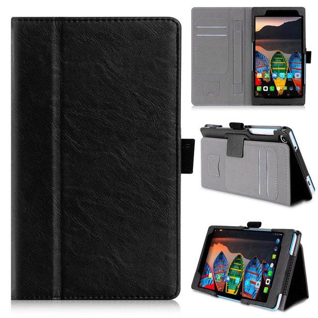 Tarjeta de bolsillo agujero imán case cubierta del cuero del soporte para lenovo tab 3 730f 730 m 730x tb3-730f tb3-730m casos tablet funda + film