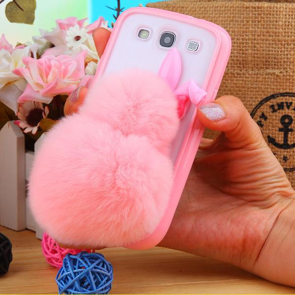 the best attitude 6a02c edd54 US $8.09 |Brand New Soft Fluffy Genuine Rabbit Fur Hairs Balls Phone Case  For Samsung Galaxy S4 Cases I9500 cell phones Fuzzy Cover on Aliexpress.com  ...