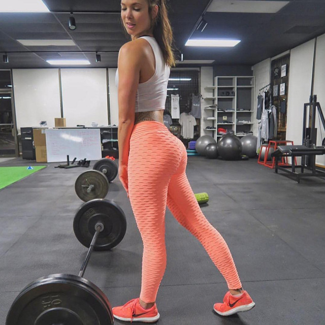 SALSPOR Sport Leggings Women Gym High Waist Push Up Yoga Pants Jacquard Fitness Legging Running Trousers Woman Tight Sport Pants 11