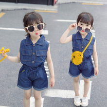 2019 New Baby Girls Summer Short Sleeved Cowboy Dress Girl Two Sets