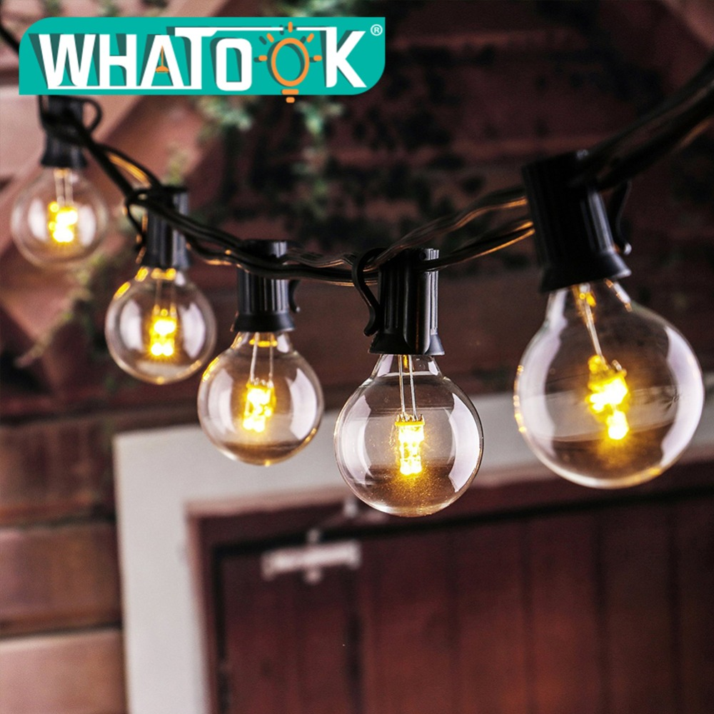 Warm White 25 Bulbs G40 Globe String Lights UL List Patio Light Vintage EU/US Plug for Indoor/Outdoor Umbrella Garland lights dimmable led warm white string lights indoor outdoor use connectable 48 length with 15 led bulbs for porch patio free shipping