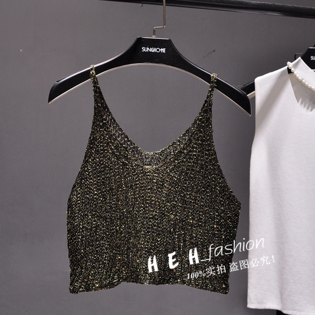 e8febf9c45c20 2017 Summer sleeveless V neck bling bling knitted camis women sexy metallic  gold crop tops women Shiny Silver Camisole tops