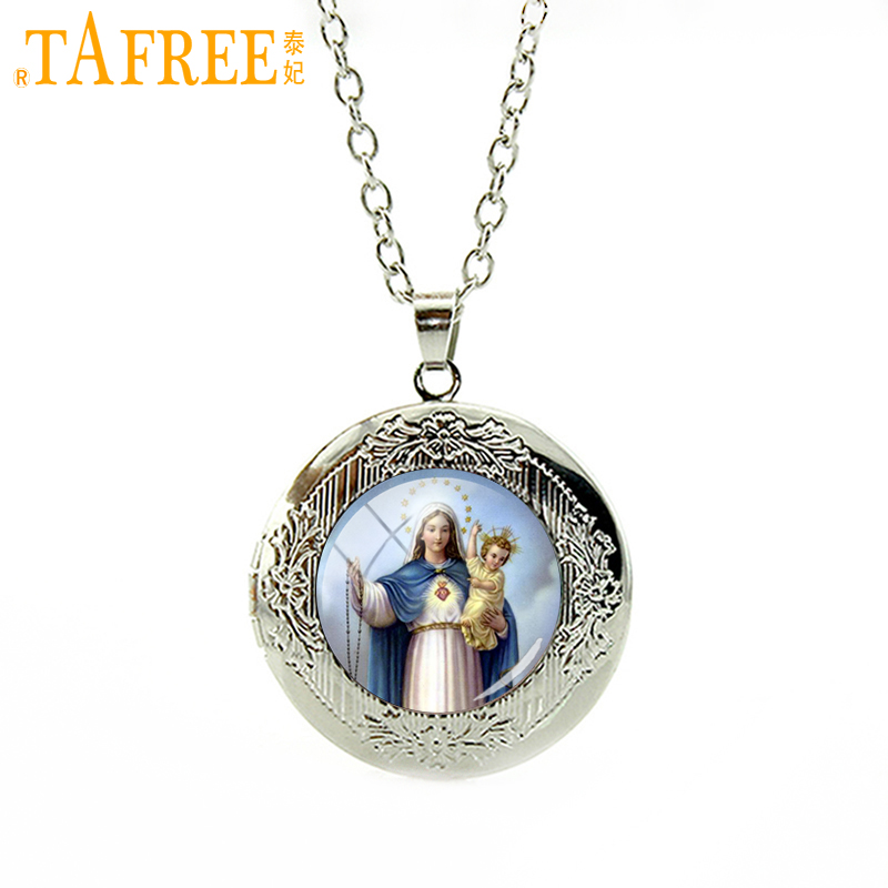 TAFREE High quality glass cabochon pendant necklace Virgin Mary of children Christian Catholic accessory gift women jewelry VM22