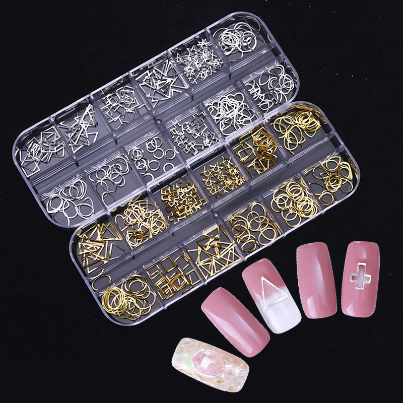 1 Box Gold Silver Hollow Metal Nail Rivets Rhinestone Cross Triangle Square Alloy Studs DIY Manicure Nail Art 3D Decoration many different types of selection 3d metal alloy nail decoration nail jewelry diy studs gold plated nail art tips decal 10pcs