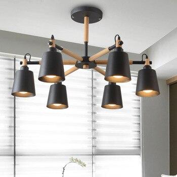 Lustre Solid Wood Chandelier For Living Room Iron Lampshade LED Chandelier Lighting Lustres Para Sala De Jantar Home Lamp E27