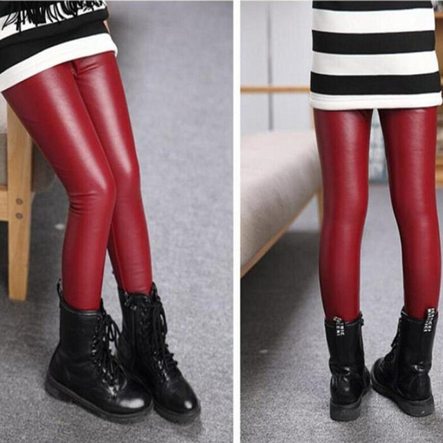 2019 New Spring Autumn Kids Girl Legging Baby Girls Boys Skinny Pencil Pants Faux PU Leather Childrens Leggings Black Wine