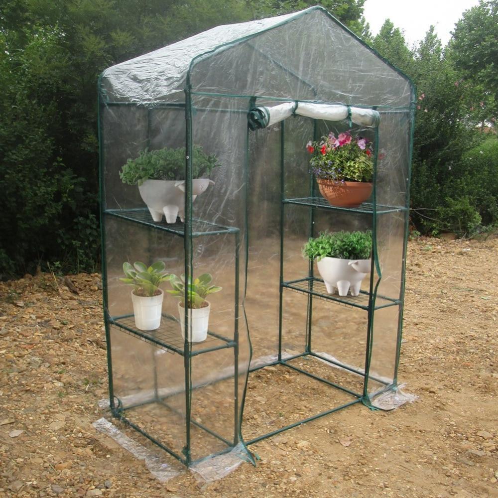 Outdoor 4 Tier Mini Greenhouse Iron Stands shelves Portable Garden Balconies Patios Decor With Green House