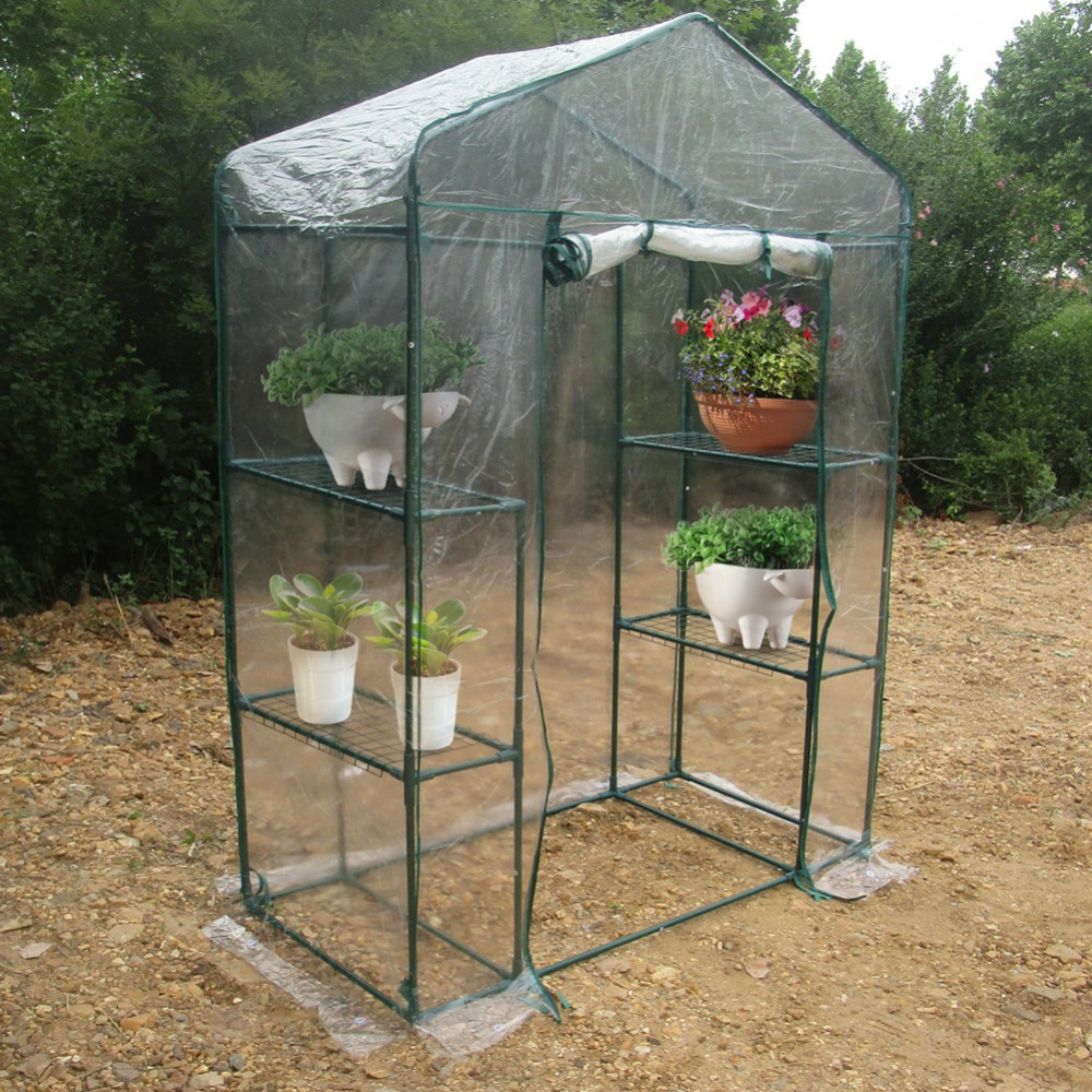 Garden Greenhouses 143 X 73 X 195cm 4 Tier Mini Greenhouse Iron Stands Shelves Garden Balconies Patios Decor Diversified In Packaging Home & Garden