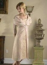 2015 Champagne Mother of the Bride Dresses with Jacket Applique Knee Length Dress Half Sleeve vestido mae da noiva