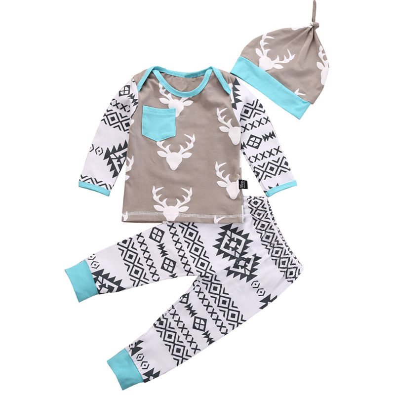 KEOL Best Sale 3pcs Kids Infant Girl Boy Deer Top T-shirt Pants Leggings Hat Baby Outfits Set, 70 Size Light blue