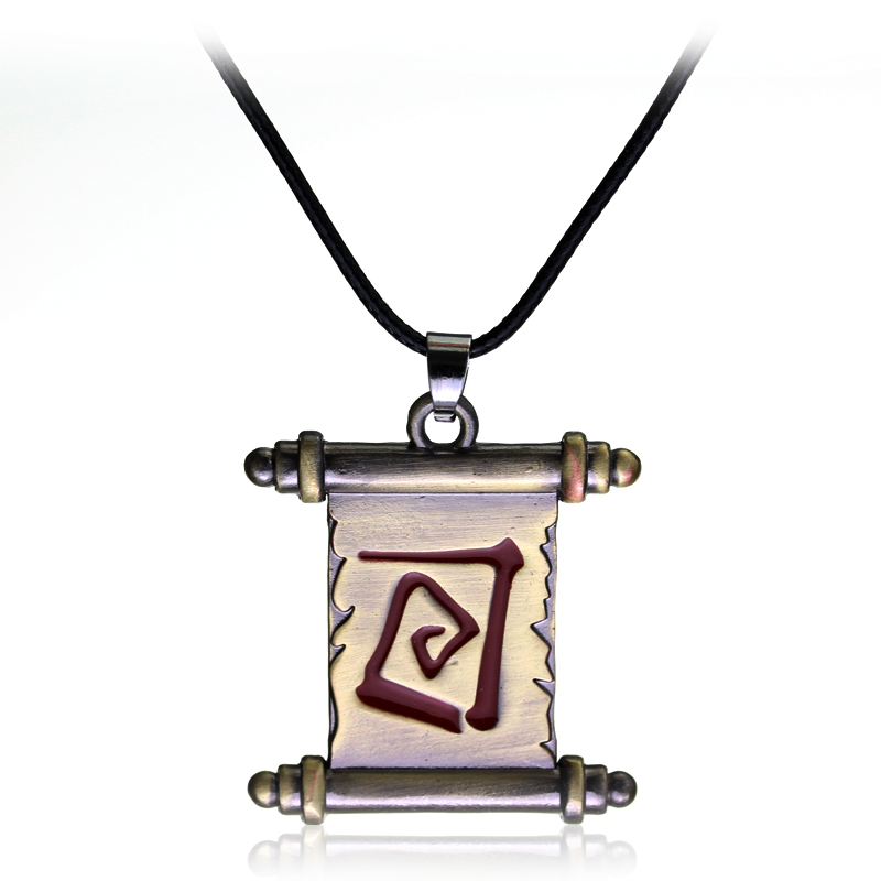 Online Game Hot Dota 2 Transfer Scroll Necklace Pendants Alloy Metal Fashion Necklace Gift Jewelry Bronze Rope Chain Necklace