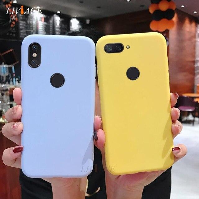Ốp lưng Silicone trên dành cho Xiaomi Redmi Note 6 Pro 7 5 5A Prime S2 Mi 8 9 SE Mi 8 A2 Lite dễ thương vàng màu kẹo mềm mại Ốp lưng TPU
