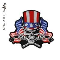 철의-패치 새로운 미국 국기 두개골 더블 총 자수 패치 재킷 위로 조끼 바이커 Mc 패치 도매